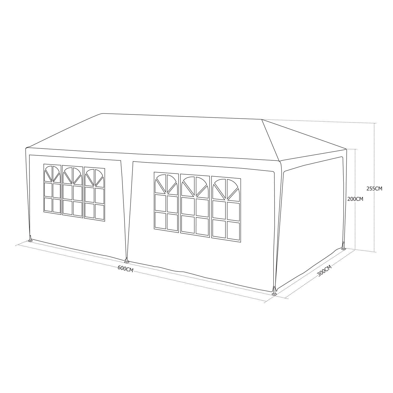 1500x1500 Aginum Marquee Garden Gazebo Tent Waterproof, White Canopy 3m X 6m