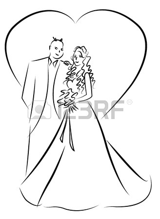 328x450 Just Married Couple Cartoon Vector Royalty Free Cliparts, Vectors