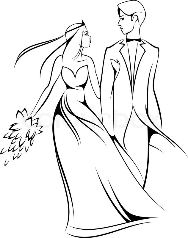 632x800 Bride And Groom Isolated On White For Marriage Ceremony Design