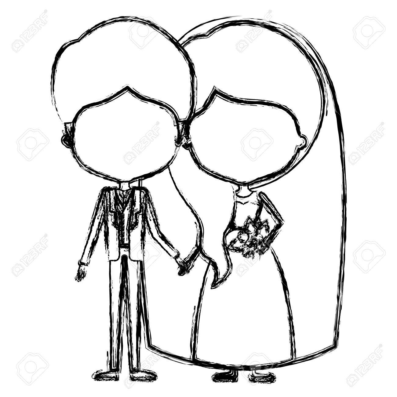 1300x1300 Monochrome Blurred Silhouette Of Caricature Faceless Newly Married