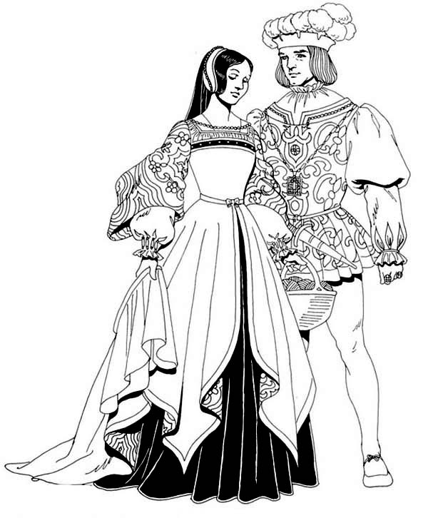 600x726 Renaissance Married Couple Coloring Pages Renaissance Married