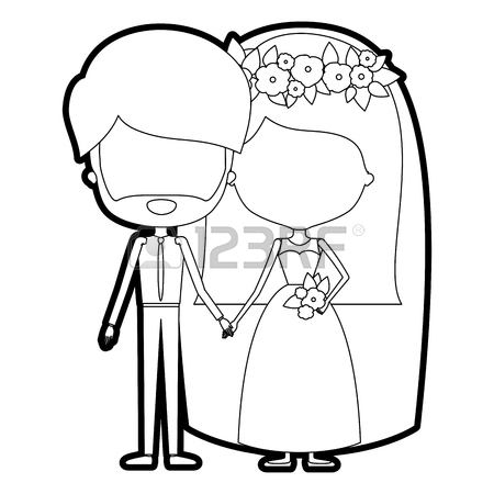 450x450 Sketch Silhouette Of Caricature Faceless Newly Married Couple