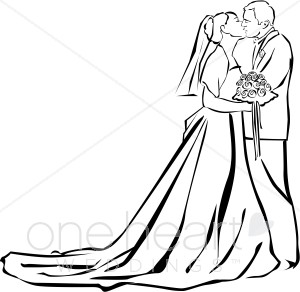 300x292 Wedding Ceremony Kiss Clipart Couples Clipart