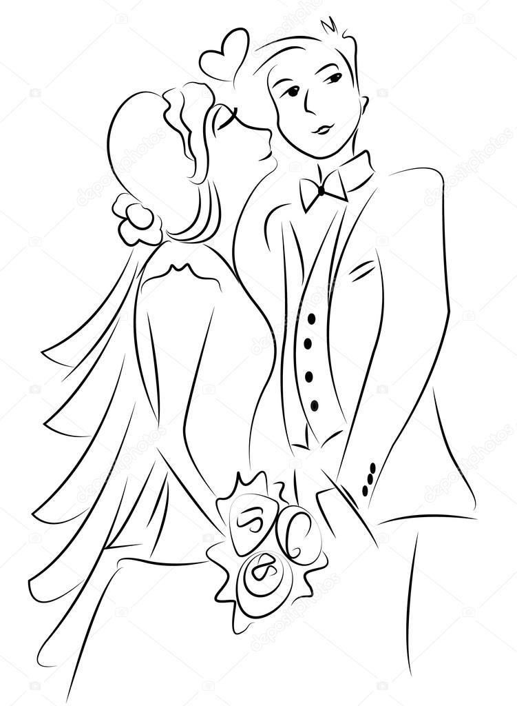 751x1024 Just Married Couple Drawing Vector Stock Vector Dr.art