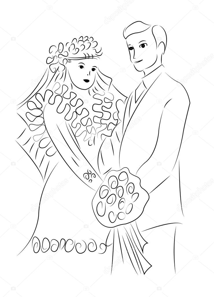 740x1023 Just Married Couple Drawing Vector Stock Vector Dr.art