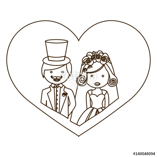 500x500 Sketch Silhouette Heart With Half Body Cartoon Married Couple