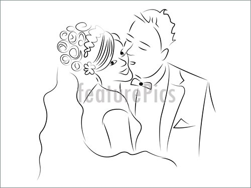 500x375 Just Married Couple Cartoon Vector