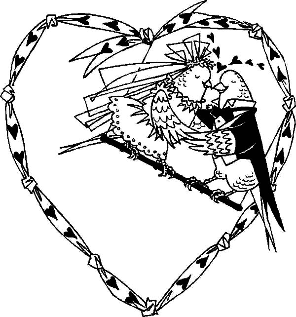 600x642 Love Birds Just Married Coloring Pages Batch Coloring