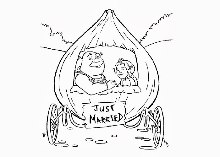 700x500 Shrek Just Married Coloring Pages Free Coloring Pages