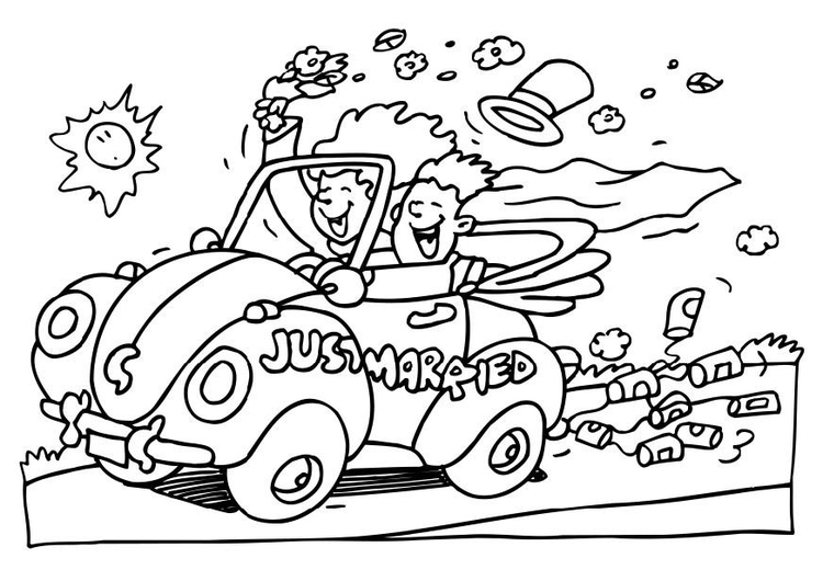 750x530 Coloring Page Just Married