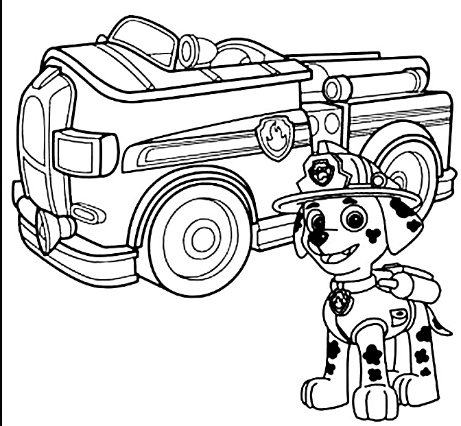 672x621 Marshall Paw Patrol Free Coloring Page Animals Kids