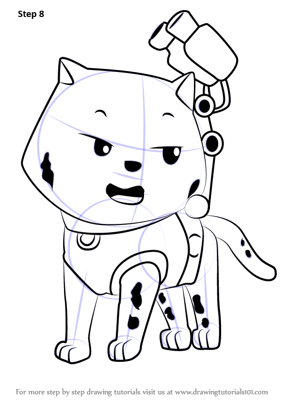 596x842 Learn How To Draw Cat Marshall From Paw Patrol (Paw Patrol) Step