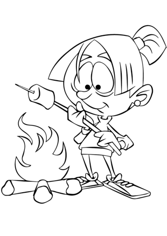 339x480 Girl Roasting Marshmallow Over Camp Fire Coloring Page Free