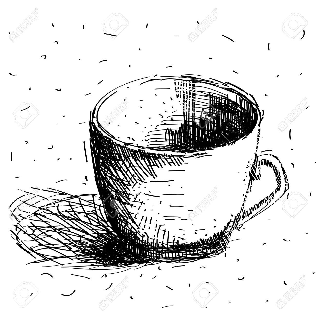 1300x1300 Scribble Coffee Cup Isolated On White Background Hand Drawing