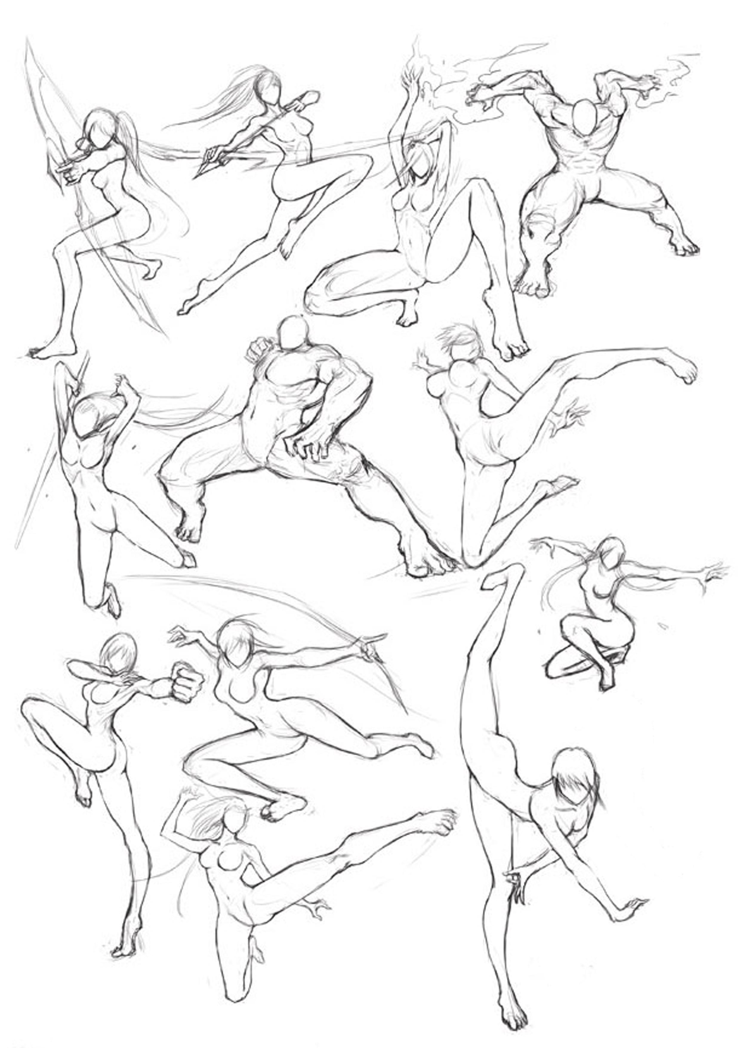 2480x3508 Martial Arts Posture Drawing Technics Drawings