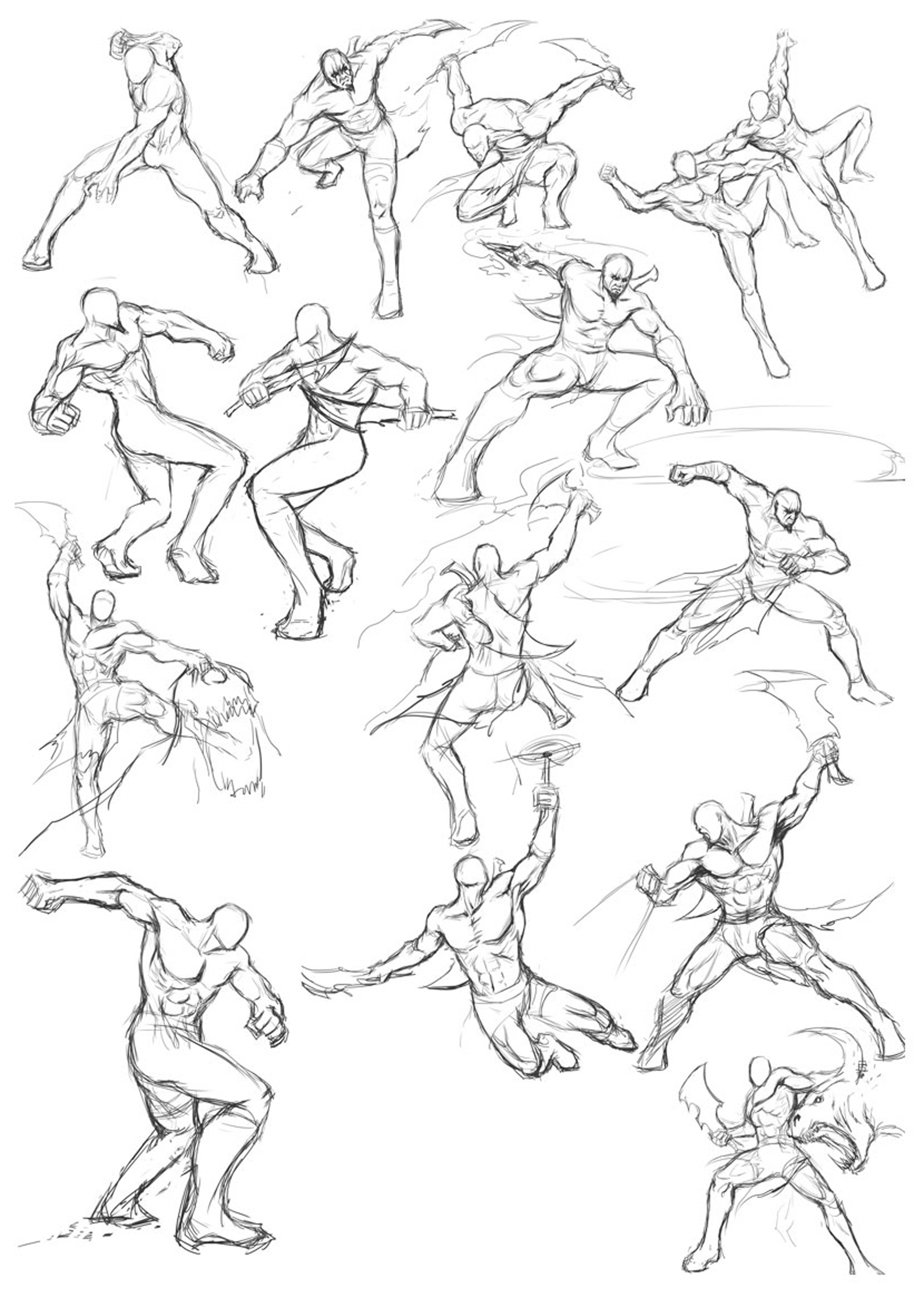 2480x3508 Martial Arts Posture Study Drawing Poses, Draw