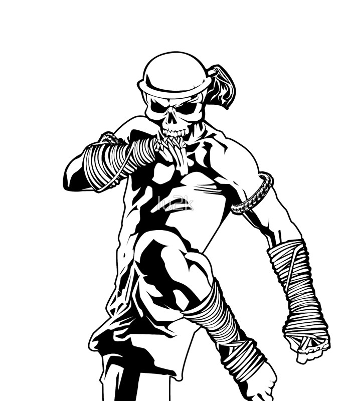 688x800 Muay Thai Skull Thailand Martial Art Sport Power Kick Impact Decal