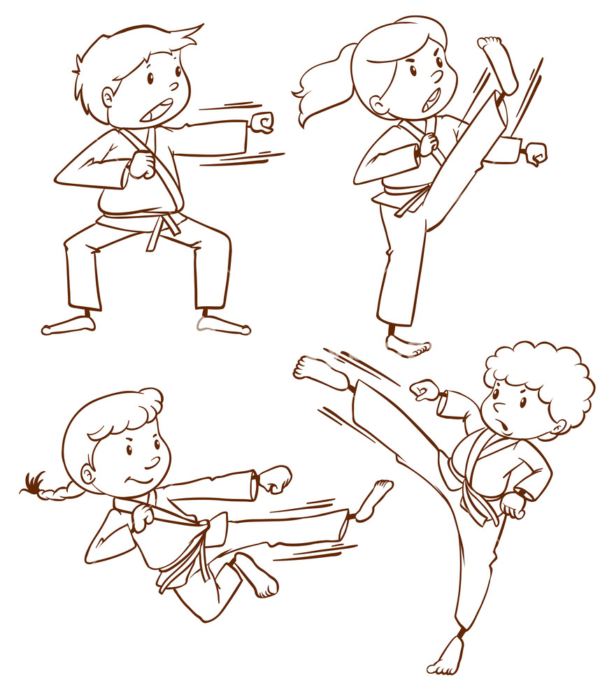 878x1000 Illustration Of A Simple Drawing Of The People Doing Martial Arts