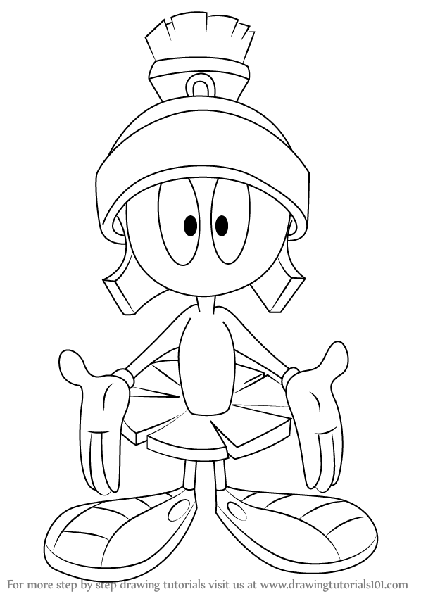 598x844 Learn How To Draw Marvin The Martian From Looney Tunes (Looney