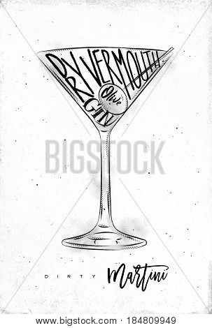 303x470 Dirty Martini Cocktail Lettering Vector Amp Photo Bigstock