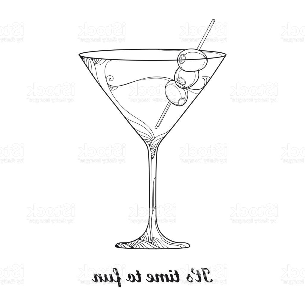 1024x1024 Unique Martini Cocktail In Transparent Glass With Olive Fruit