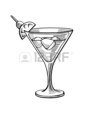 365x450 Pop Art Style Cocktail Patch Badge. Hand Drawing Alcoholic