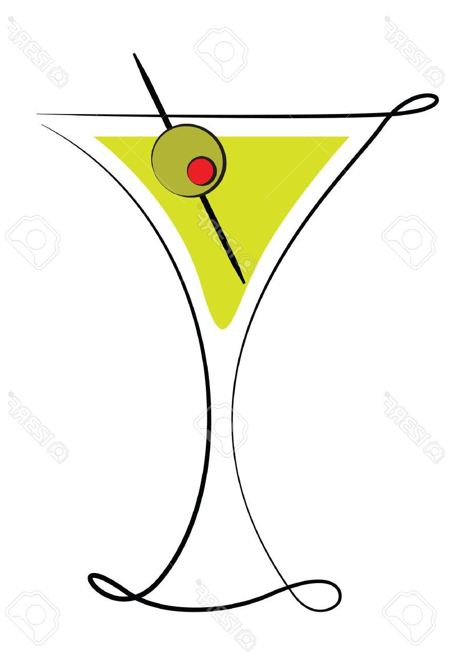 906x1300 Top Deco Martini Glass With Olive Stock Vector Drawing