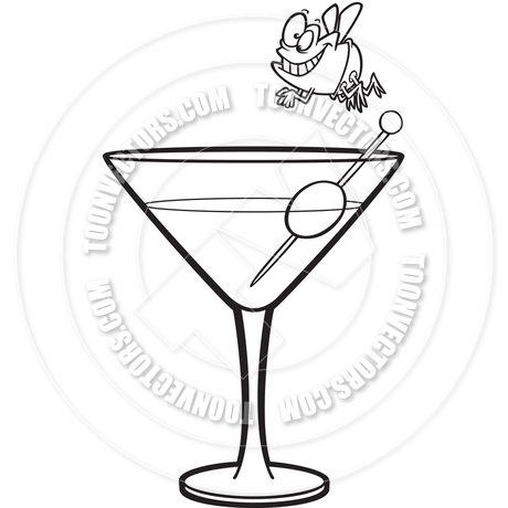 460x460 Cartoon Fly Martini Diver (Black And White Line Art) By Ron