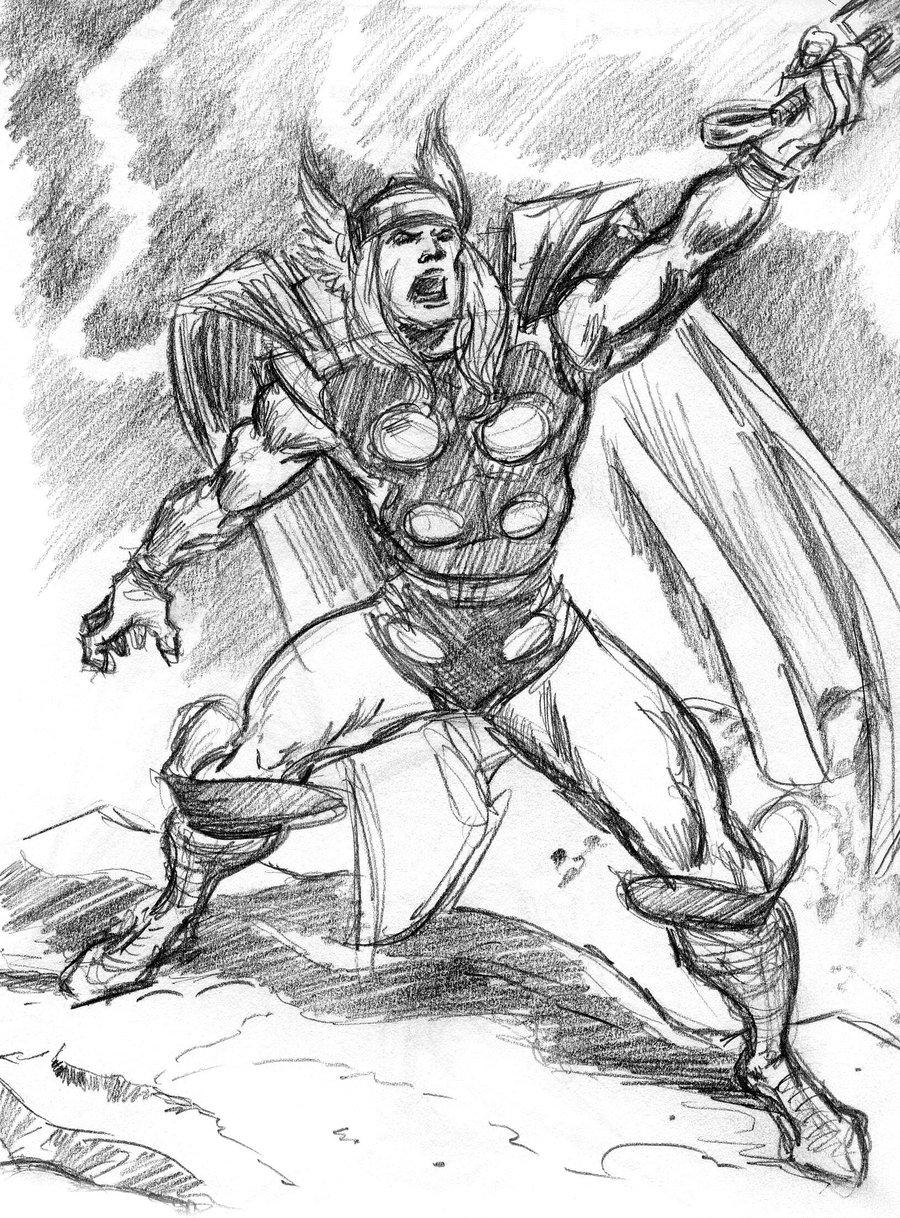 900x1218 Thor Marvel Sketch By Theladynerd