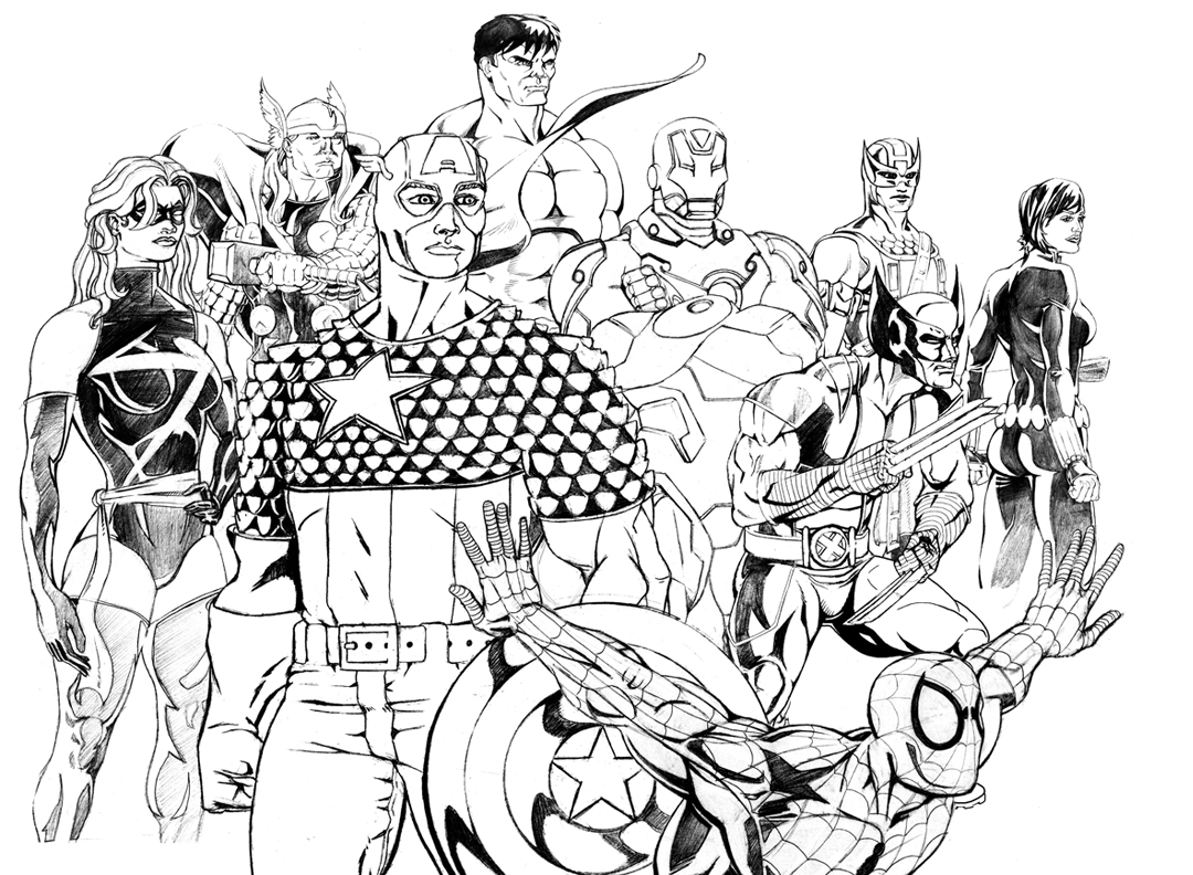Marvel Superheroes Drawing at GetDrawings.com | Free for personal ...