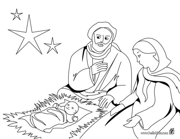 620x480 Joseph, Mary And Jesus Coloring Pages