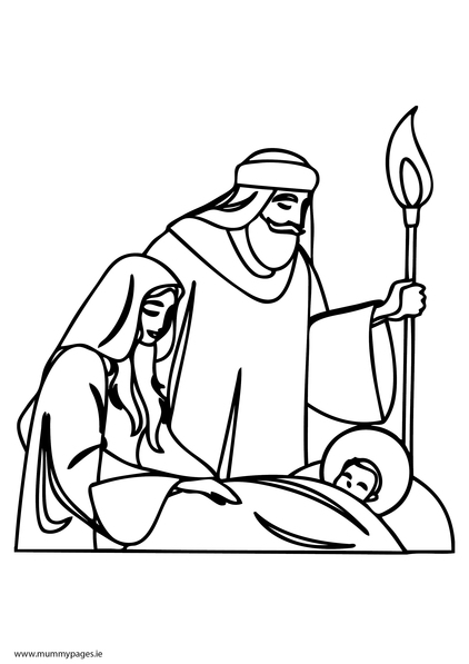 422x597 Mary, Joseph And Baby Jesus Colouring Page Mummypages.mummypages.ie