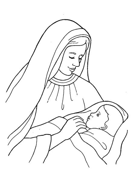 447x596 Nativity Mary With Baby Jesus
