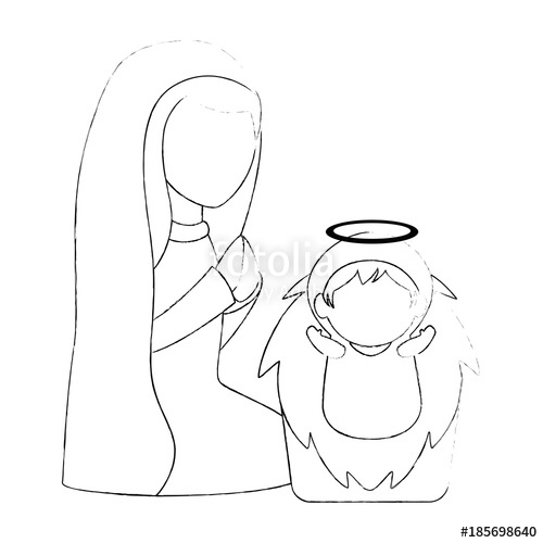 500x500 Cute Virgin Mary With Jesus Baby Characters Vector Illustration