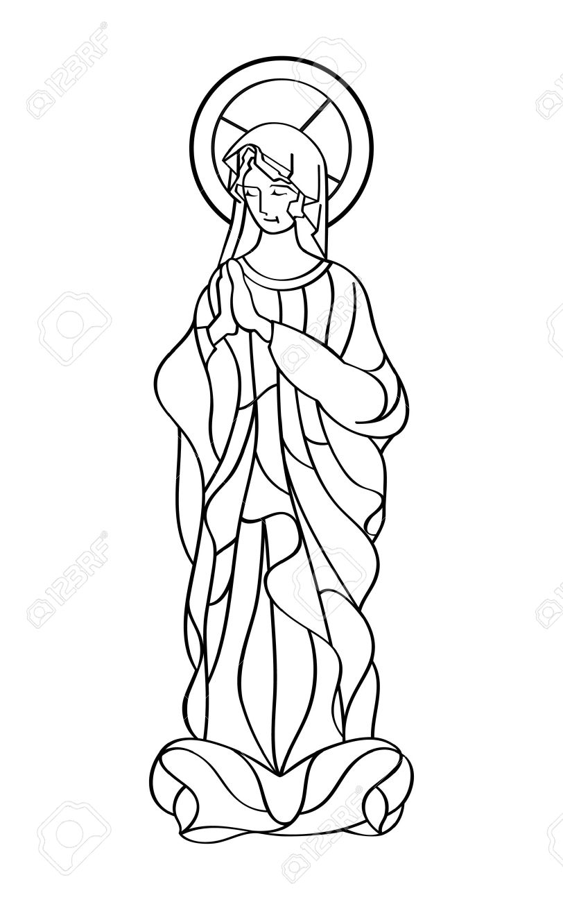 812x1300 Blessed Virgin Mary In Black And White Contour Drawing Royalty