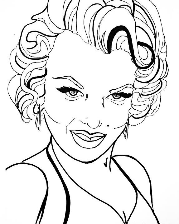 574x717 Marilyn Monroe Line Drawing Poster By Linda Simon