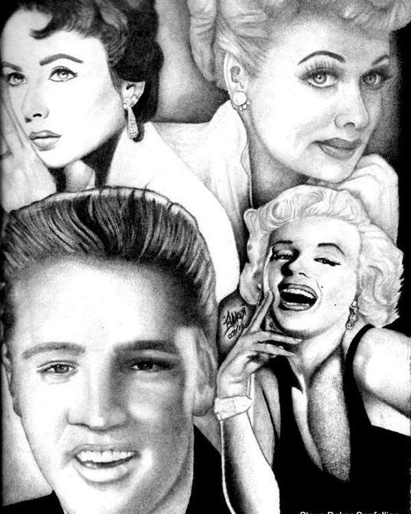 599x749 Elizabeth Taylor Lucille Ball Elvis Presley Marilyn Monroe Poster