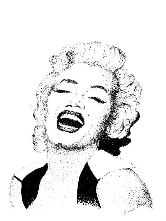 570x758 Items Similar To Marilyn Monroe Original Pointillism Drawing On Etsy
