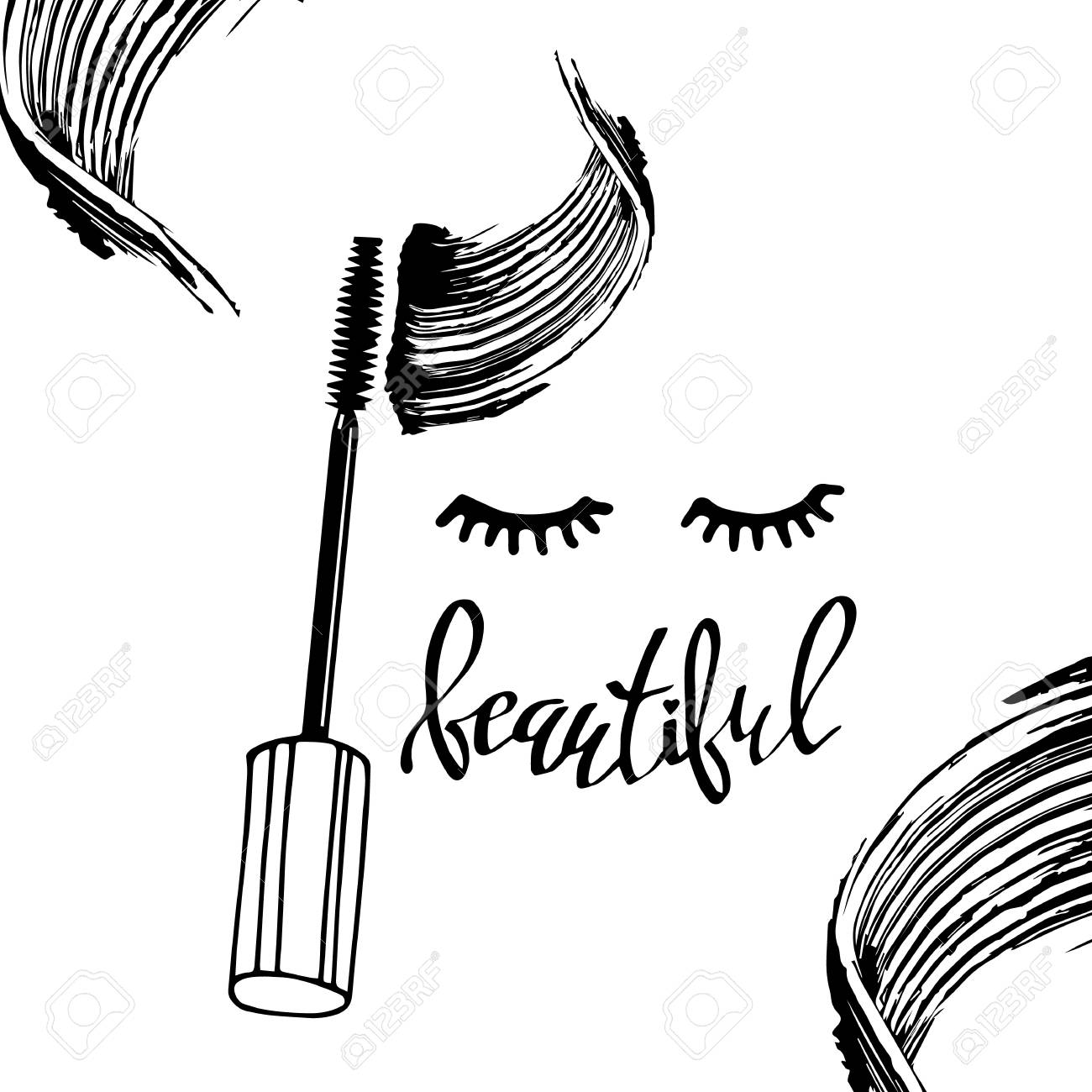 1300x1300 Mascara Fashion Banner, Clear Template For Advertising Or Magazine