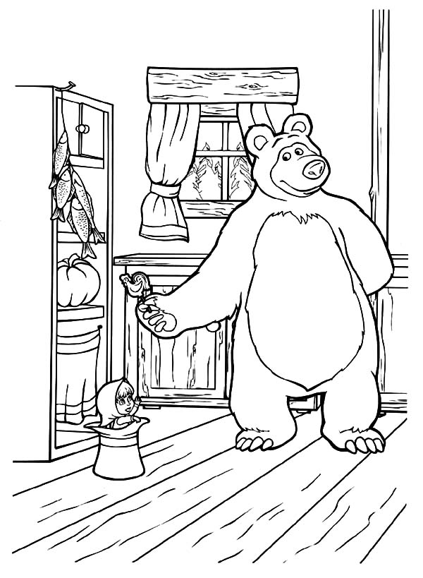 600x819 Masha And The Bear Bring Masha Delicious Candy Coloring Pages