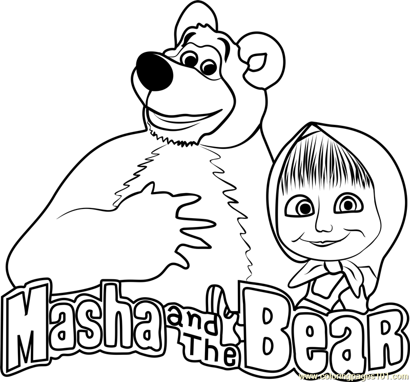 800x744 Masha And The Bear Coloring Page