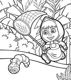 275x310 Masha And The Bear Colouring In Cartoonito Uk