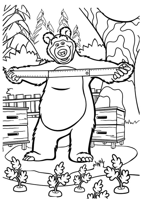 600x850 Masha And The Bear Planting Carrot Coloring Pages Color Luna