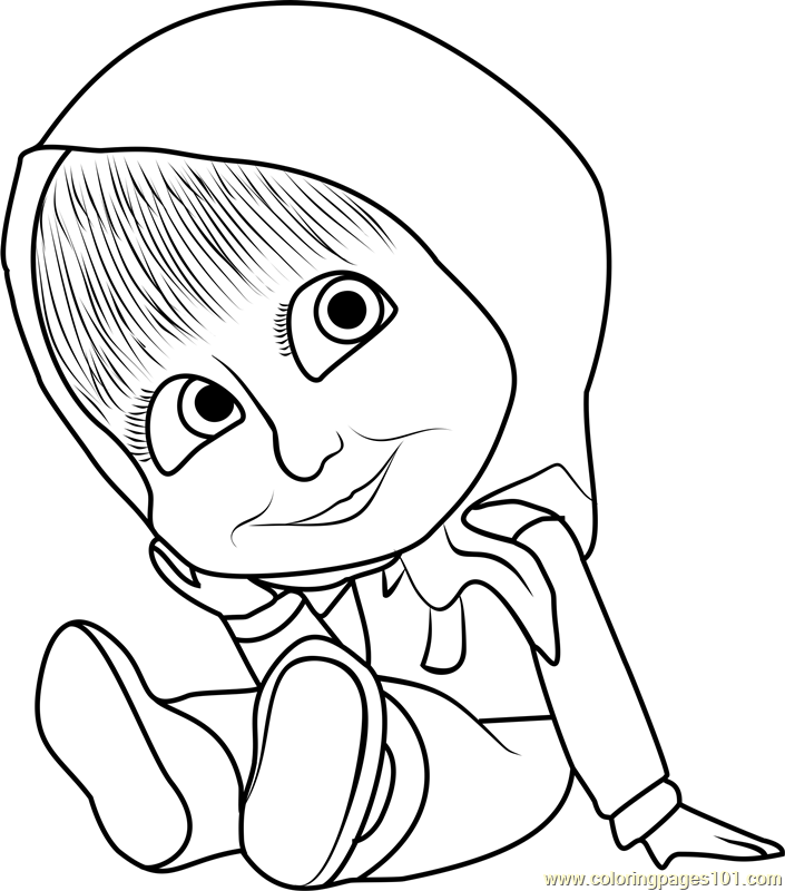 705x800 Baby Masha Coloring Page