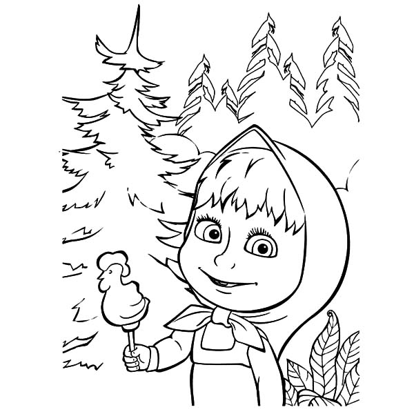 600x600 Masha And The Bear Rooster Shape Delicious Candy Coloring Pages