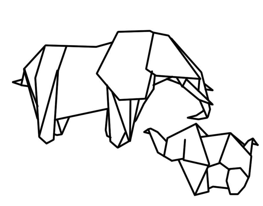 892x700 Geometric Elephant Illustration For Washi Tape Diy