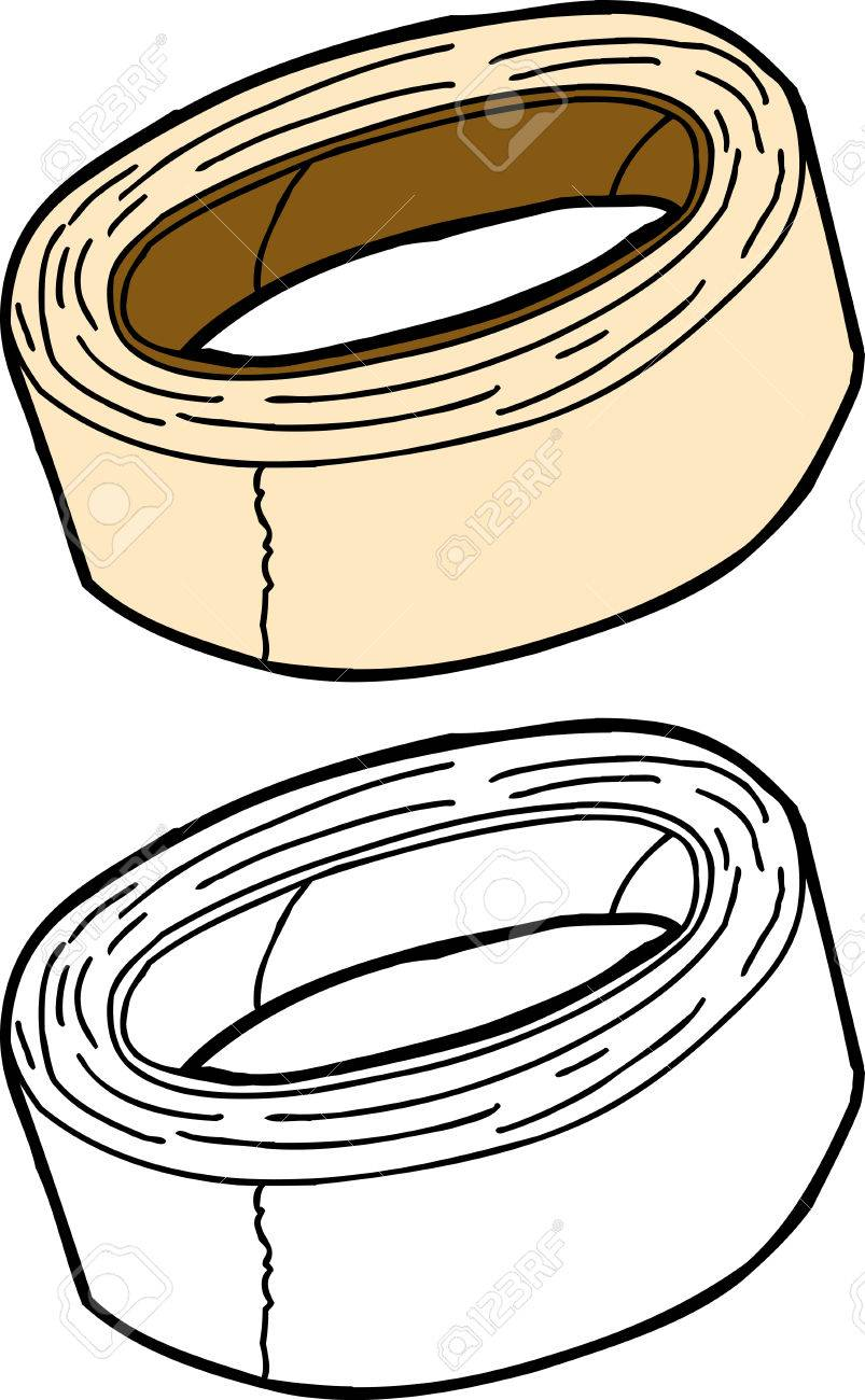 803x1300 Isolated Masking Tape In Color And Outline Royalty Free Cliparts