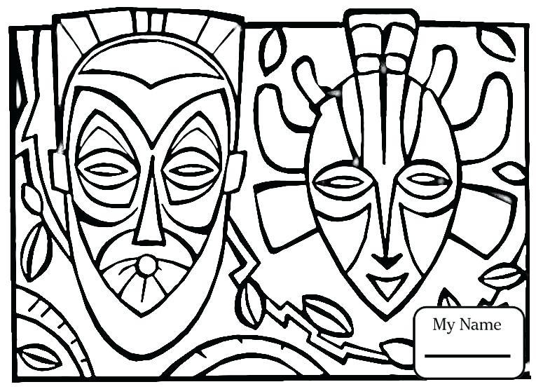 African Art Masks Drawings