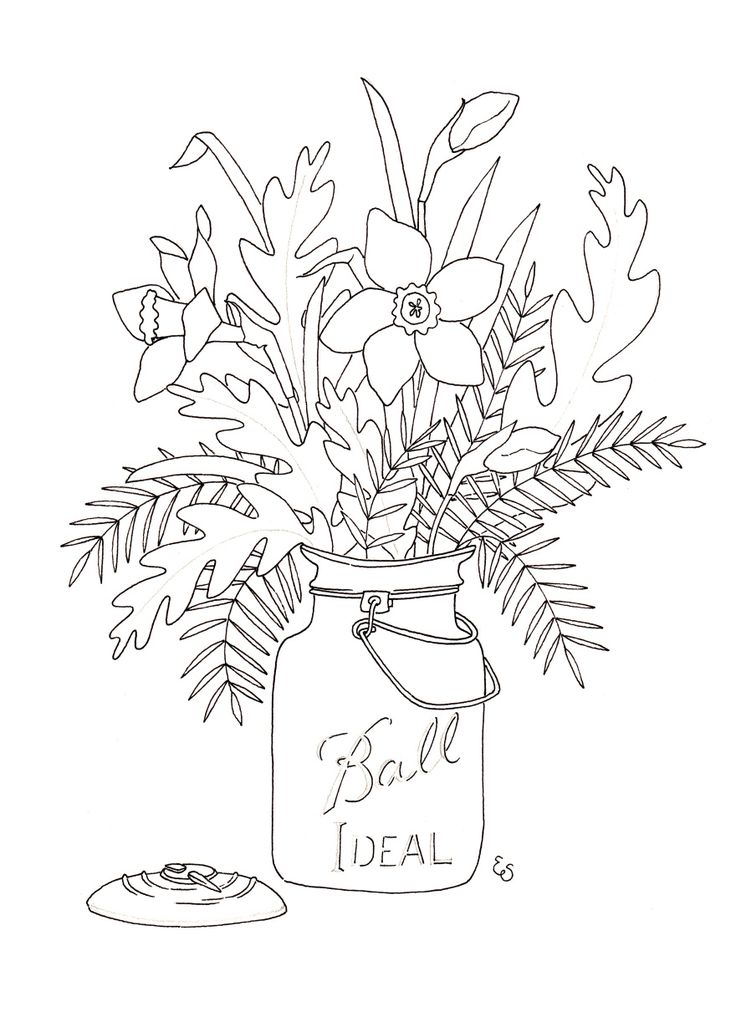 Mason Jar Drawing Template
