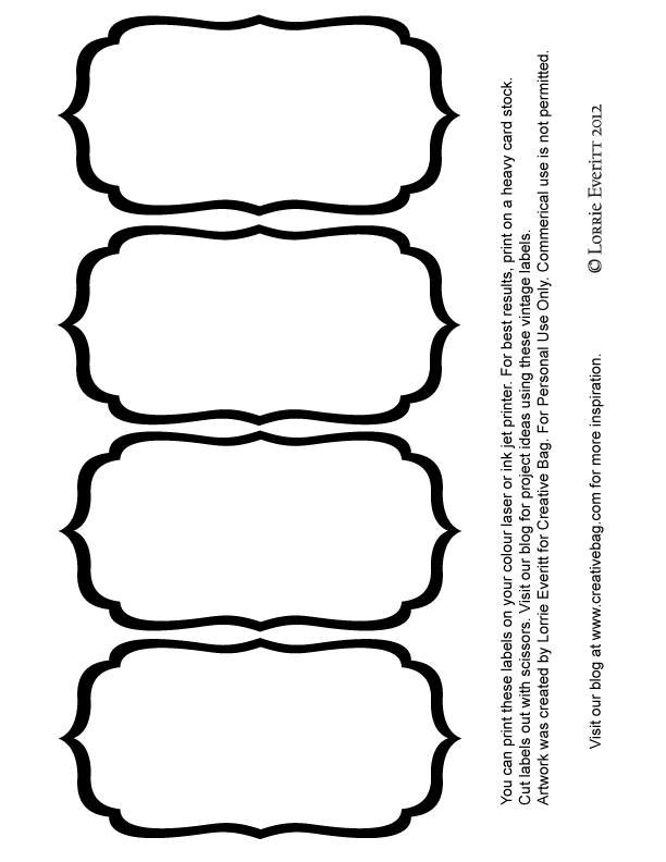 612x792 Black And White Blank Label Templates Labels Label